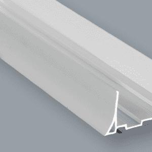 Foto Canal de desplante de PVC de 40 mm HC 40, perfil sanitario para refrigeración, zócalo higiénico para refrigeración, desplante higiénico cárnicos, desplante plastico sala de proceso